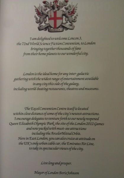 Fantastyczne pozdrowienia dla uczestników Lonconu odburmistrza Londynu Borisa Johnsona