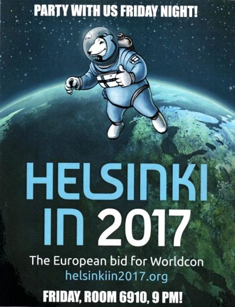 Plakat reklamujący kandydaturę Helsinek jako organizatora Worldconu2017.