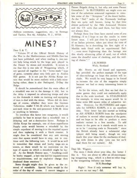 """Dział zlistami w""""Strategy & Tactics"""" #1 (Jan 1967)"""