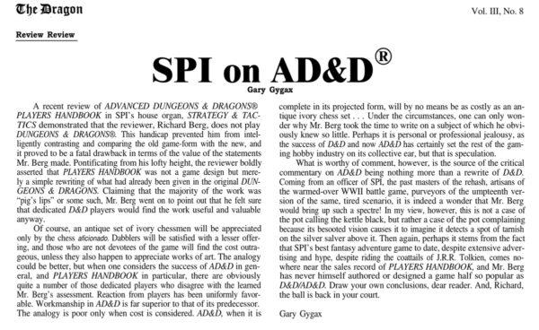 """Niesławna odpowiedź Gary'ego Gygaxa napowyższą recenzję, zamieszczona w""""The Dragon"""" #22 (Feb 1979)"""
